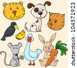 set of cute editable animals, childish stickers isolated - stock vector