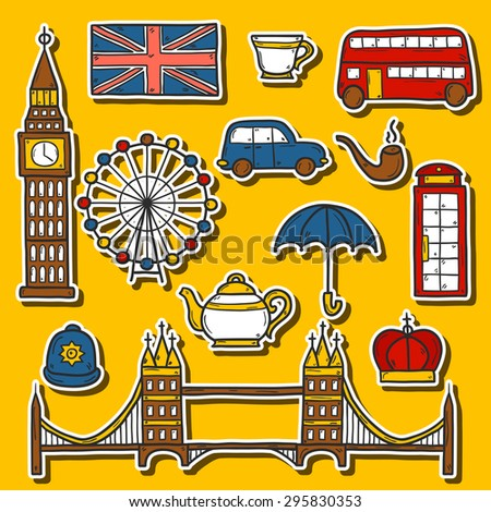 Set of cute hand drawn cartoon stickers on London theme: queen crown, red bus, big ben, umbrella, london eye, telephone box. Travel concept for site, card, map