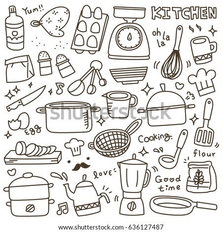 Makeup set sketch drawing eps8 layered stock vector for Kitchen set drawing