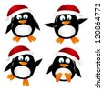 Set of cute penguin Santa - stock vector