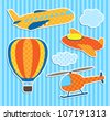 Set of cute vector colorful aircraft stickers - stock photo