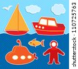 Set of cute vector colorful ships stickers and diver - stock photo