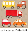 Set of cute vector colorful transport stickers. Cars. - stock vector