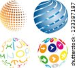 set of 3D abstract logo colored balls - stock vector