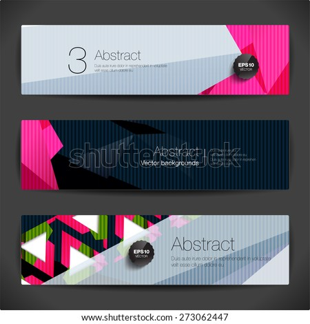 Set of 3d horizontal polygonal banners for modern design