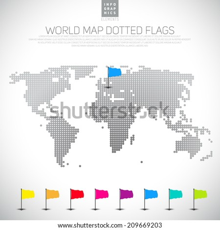 Set 3d map pointers dotted world stock vector 208926166 shutterstock set of 3d pin flags icons with dotted world map vector illustration gumiabroncs Images