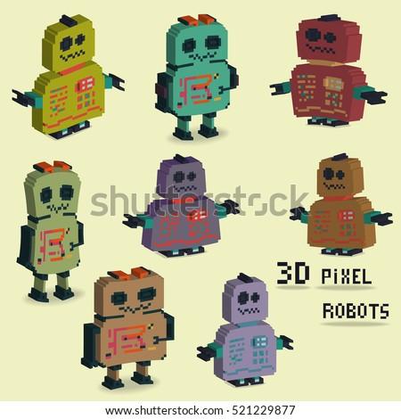 pixel art collection cute 8 bit stock vector 246195067