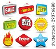 Set of 3d price tags and sale signs. - stock vector