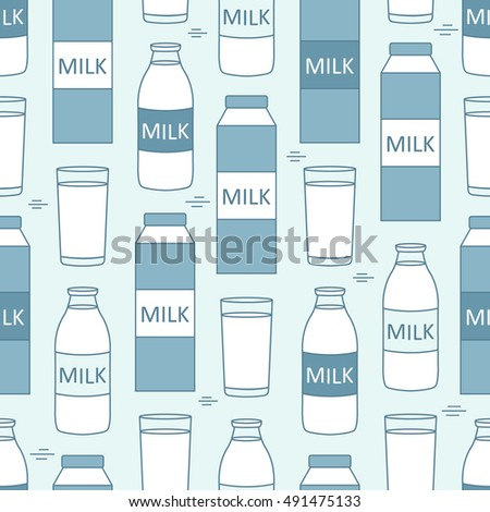 Set of dairy produce, seamless pattern vector. Big collection flat icon. Colorful illustration with hand drawn objects