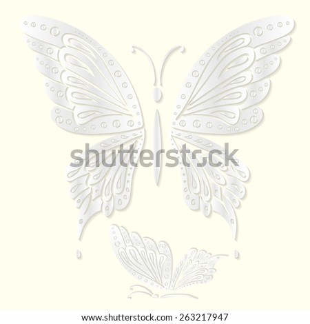 Set of decorative white butterflies cut from paper. Vector illustration. Best for your design, advertising and greeting cards, textiles, tattoo