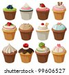 Set of delicious cupcakes with different toppings. Isolated on white background - stock photo