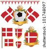 set of denmark football supporter flags and emblems, isolated on white - stock vector