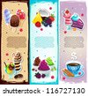 Set of dessert bookmarks - stock vector