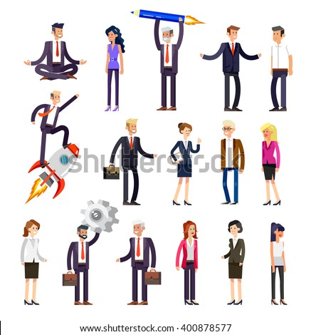 Set of detailed characters people, men and women in action. Shake hands, with a briefcase, secretary, big boss, startup man, colleagues, business lifestyle isolated on white background.