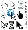 Set of different cursors-vector - stock vector
