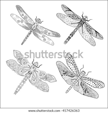 Set of different dragonflys. Black white hand drawn doodle animal. Ethnic patterned vector illustration. Sketch for coloring page, decoration, tattoo, poster, print, t-shirt