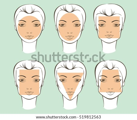 Set of different female face shapes vector