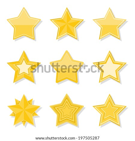 Set of different flat yellow stars on white background, vector eps10 illustration