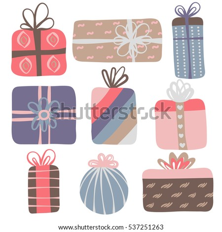 Set of 9 different gift boxes. Cute design. Colorful creative presents. Icon or logo. Vector illustration, eps10