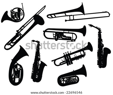 Set of Different Kind of Musical Wind Instruments Silhouettes. Tube, Horn, Trombone, Saxophone. High Detail, Very Smooth. Vector Illustration.