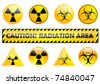 set of different radiation signs over white - stock vector