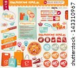 set of different Sale design elements � banner, ribbon, icon, coupon, shopping bag, shopping cart, megaphone - stock vector