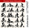 Set of 20 different silhouettes of cyclists on sport or freetime - stock vector