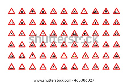 Set of different triangular road signs isolated on white