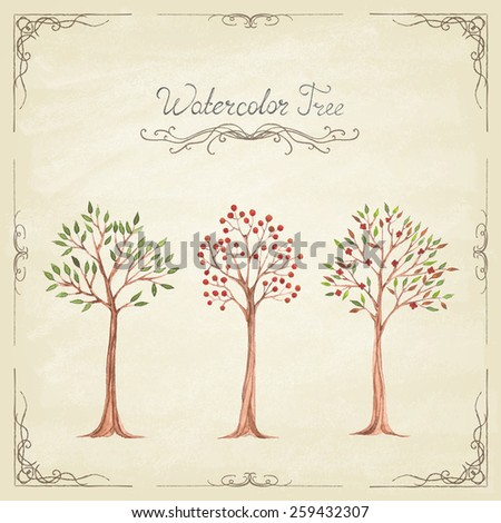 Set of  different watercolor trees. Vintage style. Hand painting. Illustration for greeting cards, invitations. Vector illustration.