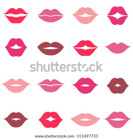 Set of different women's lips icons isolated on white
