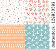Set of 4 doodle abstract seamless patterns - stock vector