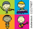 Set of doodle happy children band with musical instruments - stock vector