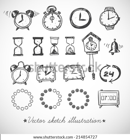 Set of doodle sketch watches. Alarm clocks, sand glasses, stop-watch and other symbols of time. Hand-drawn with ink. Vector illustration.