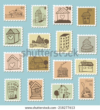 Set of doodled house stamps