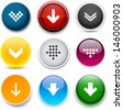 Set of download color round buttons for website or app. Vector eps10. - stock