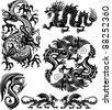 Set of dragon - stock vector