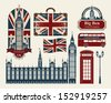 set of drawings on the theme of Great Britain and London - stock vector