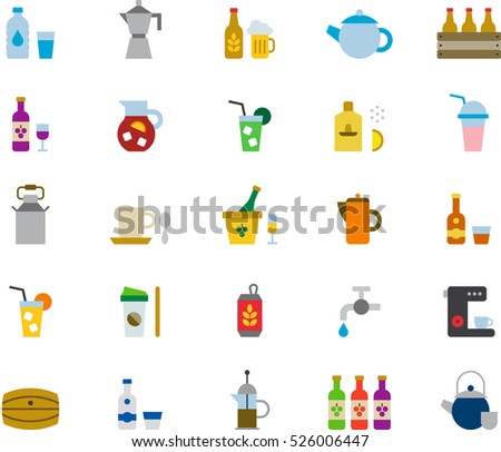 set of DRINKS & BEVERAGES color flat icons