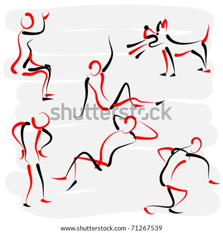 set of dummy posing silhouettes in motion