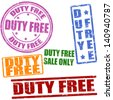 Set of duty free grunge rubber stamps on white, vector illustration - stock photo