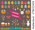 Set of Easter flat elements. Vector illustration. - stock vector