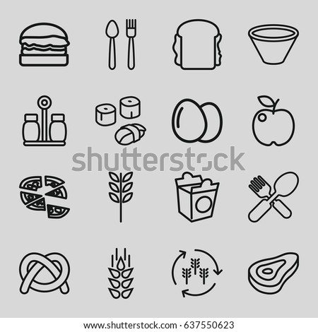 Stock Vector Sixteen Food Symbols Isolated On A Black Background