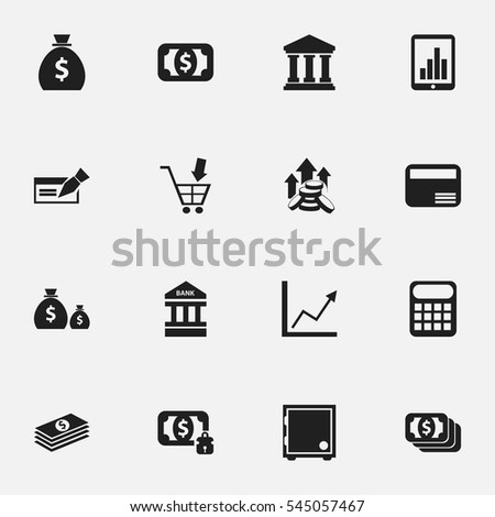 Set Of 16 Editable Banking Icons. Includes Symbols Such As Bar Graph, Currency, Crate And More. Can Be Used For Web, Mobile, UI And Infographic Design.