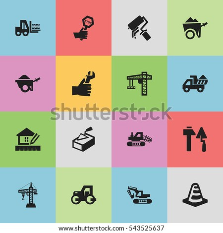 Set Of 16 Editable Construction Icons. Can Be Used For Web, Mobile, UI And Infographic Design.