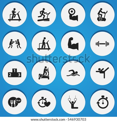 Set Of 16 Editable Fitness Icons. Includes Symbols Such As Acrobatics, Training Pool, Instruction Male And More. Can Be Used For Web, Mobile, UI And Infographic Design.