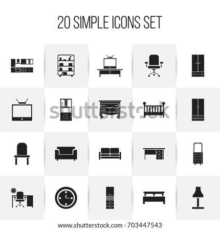 Set Of 20 Editable Interior Icons Includes Symbols Such As Cabinet Material Cupboard
