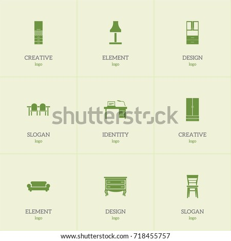Set Of 9 Editable Interior Icons Includes Symbols Such As Glim Wardrobe Material