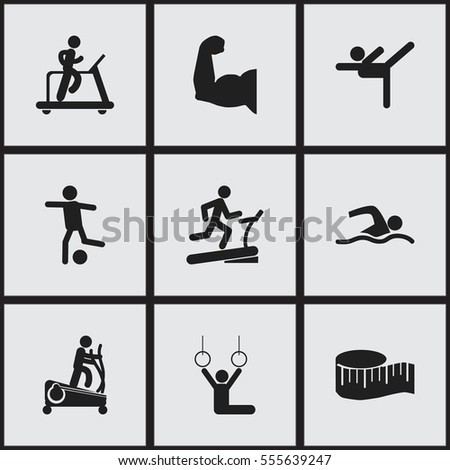 Set Of 9 Editable Lifestyle Icons. Includes Symbols Such As Training Pool, Cloth Ruler, Jogging And More. Can Be Used For Web, Mobile, UI And Infographic Design.
