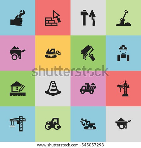 Set Of 16 Editable Structure Icons. Includes Symbols Such As Handcart , Hands , Notice Object. Can Be Used For Web, Mobile, UI And Infographic Design.