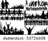 Set of editable vector foreground illustrations of people with all figures as separate elements - stock vector